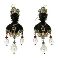 Elegant African Bust 9 Karat Yellow Gold Diamonds Pearls Emeralds Drop Earrings