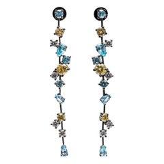 Ammanii Gemstones Pastel Colors Long Strand Earrings