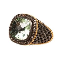 Ammanii Signet Black Ruthenium Ring with Gemstone