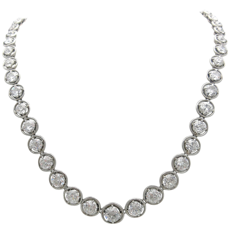 9fd59c79205e6 Antique Victorian Riviere, Single Strand Old European Cut Diamond  Necklace/Tiara