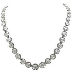 Art Deco 14 Carat European Cut Diamond Riviere Necklace Platinum