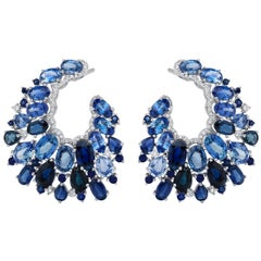 Ruchi New York Oval Blue Sapphire and Diamond C Shaped Earrings
