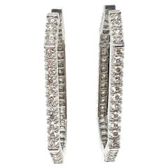 1.95 Carat White Round Brilliant Diamond Hoops In 18K White Gold.