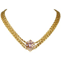 Authentic Georgian Multi Chain Pink Topaz Precious Rare Canetille Necklace