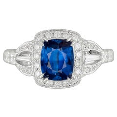 GIA Certified 1.93 Carat Cushion Cut Fine Ceylon Sapphire and Diamond Ring