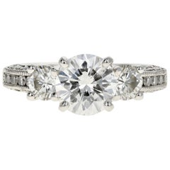 Platinum Tacori 1.54 Carat Diamond Ring GIA Certified