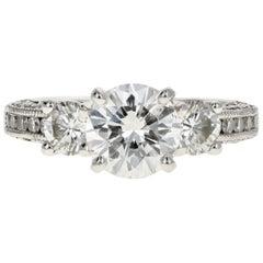 Platinum Tacori 1.54 Carat Diamond Ring GIA Certified