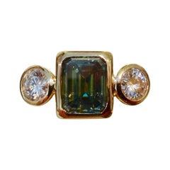 Michael Kneebone Green Zircon White Sapphire Three-Stone Leah Ring