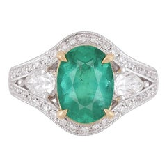 GIA Certified 2.38 Carat Oval Cut Emerald and Diamond Ring by Diamond Town
