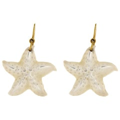 Mother of Pearl Gold Starfish Dangle Earrings