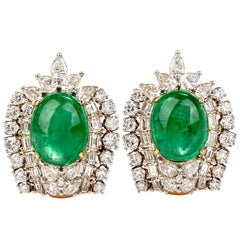 Botanical Emerald Diamond 18 Karat Yellow Gold Clip-On Earrings