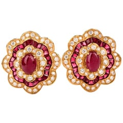 GIA 1980s Flower Ruby Diamond 18 Karat Yellow Gold Clip-On Earrings