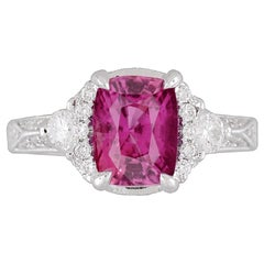 GIA Certified 2.39 Carat Cushion Cut Exotic Pink Sapphire and Diamond Ring