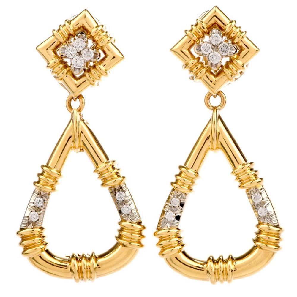 1970s Door Knob Diamond 18 Karat Yellow Gold Detachable Dangle Clip on Earrings