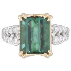 GIA Certified 5.60 Carat Rose Cut Forest Green Tourmaline and Diamond Ring