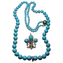 Antique Russian Turquoise Diamond Gold Fleur-de-Lis Necklace