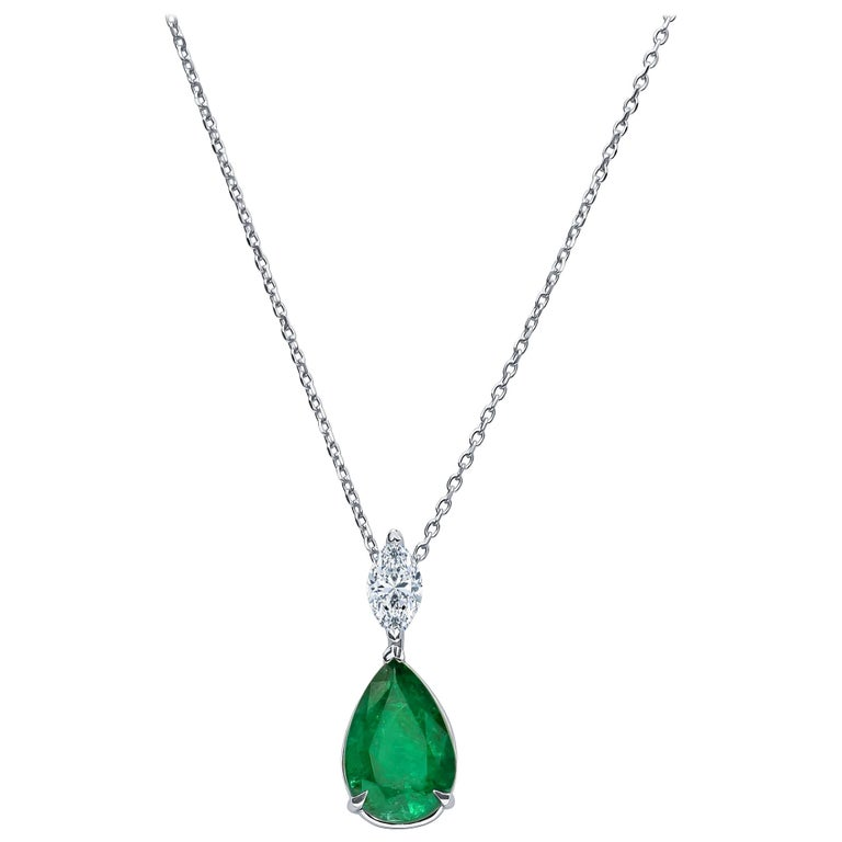 3.50ct  Pear Shape Natural Emerald & 0.45ct Marquise Shaped Diamond Pendant, 18K For Sale