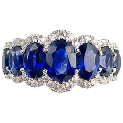 3.42 Carat Vivid Blue Sapphire and Diamond Ring in 18 Karat Gold
