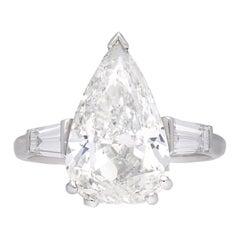 1950er Jahren 5,01 Carat Tropfenform Diamant Platin Verlobungsring