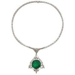 Art Deco Coliba Emerald Necklace