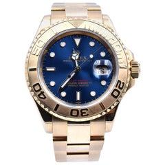 Rolex Yacht-Master Blue Dial 18 Karat Yellow Gold Watch Ref 16628