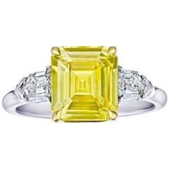 3.80 Carat Emerald Cut Yellow Sapphire and Diamond Ring