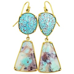 Aquaprase and Dry Creek Turquoise 22 Karat Gold Dangle Earrings