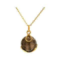 Valentin Magro Carina Faceted Smokey Topaz Yellow Gold Pendant Necklace