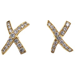 Tiffany & Co. Paloma Picasso Diamond X Kiss Earrings 18 Karat Yellow Gold