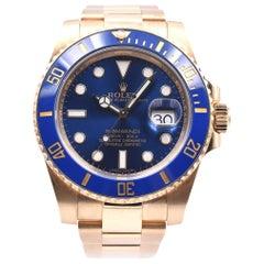 Rolex Submariner Blue Ceramic Submariner 18 Karat Yellow Gold Watch Ref 116618LB