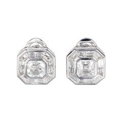 Peter Suchy GIA Certified 2.04 Carat Diamond Platinum Earrings