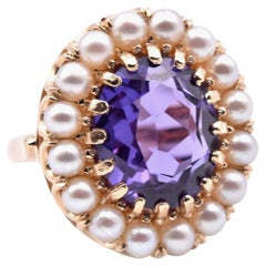 14 Karat Yellow Gold Vintage Amethyst and Seed Pearl Ring