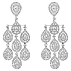Pear Shape Diamond Halo Chandelier Earrings