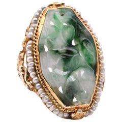 14 Karat Yellow Gold Vintage Jade and Seed Pearl Ring