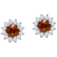 2.22ct Natural Bright Orange Sapphire Stud Earrings with 0.73ct in fine Diamonds