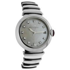 Ladies Bvlgari LVCEA LU36S Steel Diamond Mother of Pearl Automatic Watch