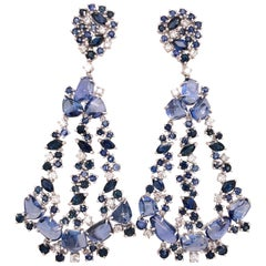Ruchi New York Multi Shape Blue Sapphire Chandelier Earrings