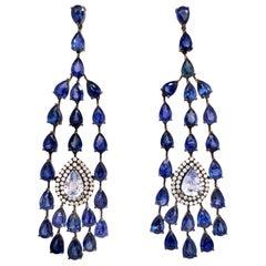 Ruchi New York Blue Sapphire Chandelier Earrings