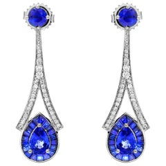 3.36 Carat Pear Sapphire 0.36 Diamond Drop Cocktail Earrings 14 Karat White Gold