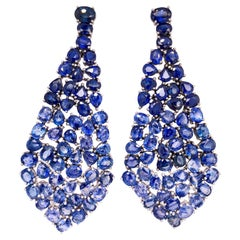 Ruchi New York Blue Sapphire Gradient Dangle Chandelier Earrings