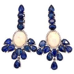 Ruchi New York Blue Sapphire, Ethiopian Opal and Diamond Chandelier Earrings