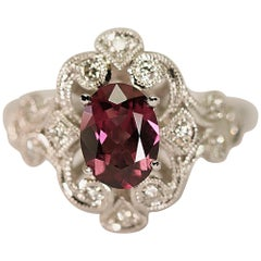 Antique Design Rhodolite Garnet Diamond Engagement Ring or Right Hand Ring