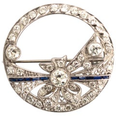 .40 Carat Diamond Platinum Brooch