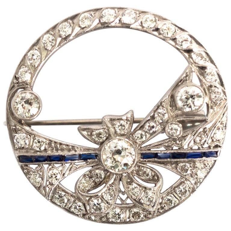 .40 Carat Diamond Platinum Brooch For Sale