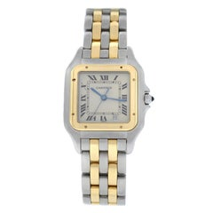 Ladies Cartier Panthere 187949 Quartz Steel 18 Karat Gold Two-Row Date Watch