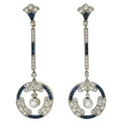 Art Deco Diamond Sapphire Dangle Drop Earrings Long Geometric French Cut Estate
