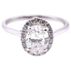 Oval Cut 1.04 Carat Diamond 14 Karat White Gold Engagement Ring
