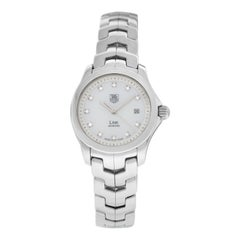 Ladies Tag Heuer Link WJF1317 Steel MOP Diamond Date 200M Quartz 27MM Watch