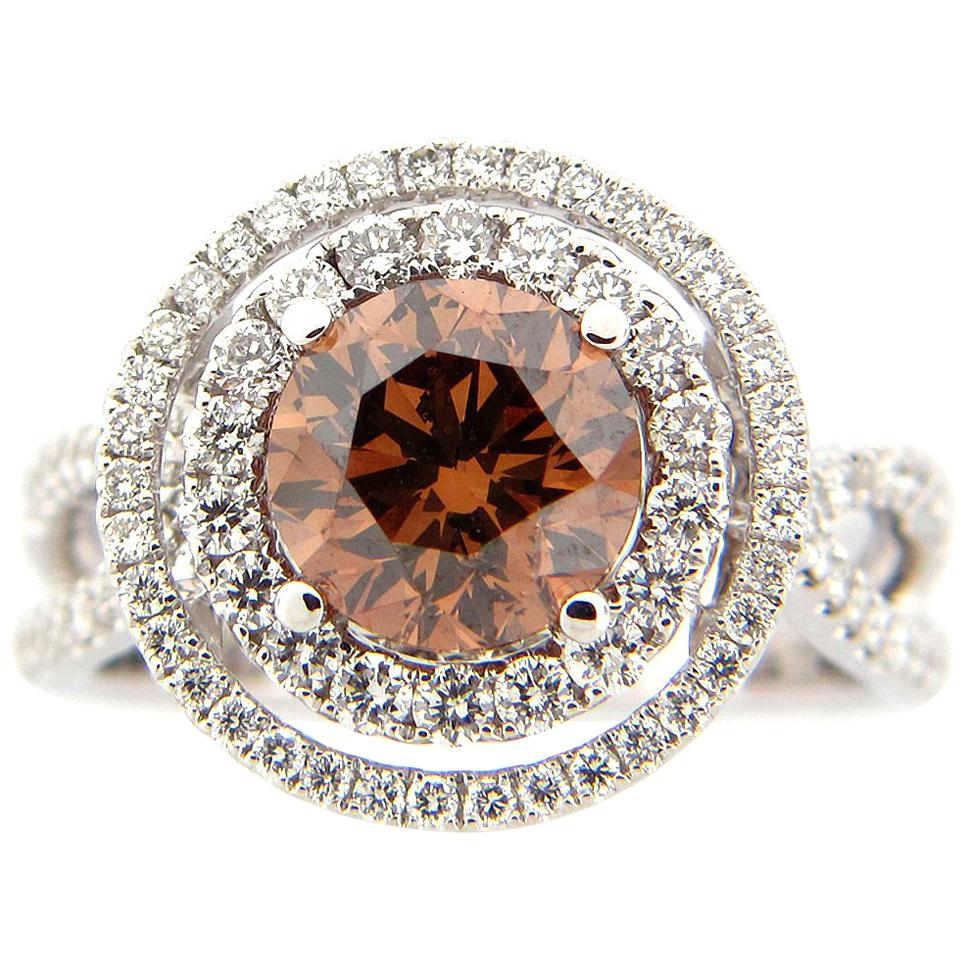 2.01 Carat Brown and White Diamond Cocktail Ring