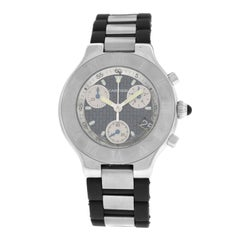 Mens Cartier 2424 Chronoscaph Steel Date Quartz Chronograph Watch